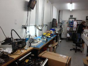 Satellite RF Engineer testing equipment