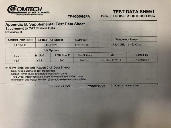Comtech 60W C-Band LPOD-PS1 Outdoor BUC Test Data