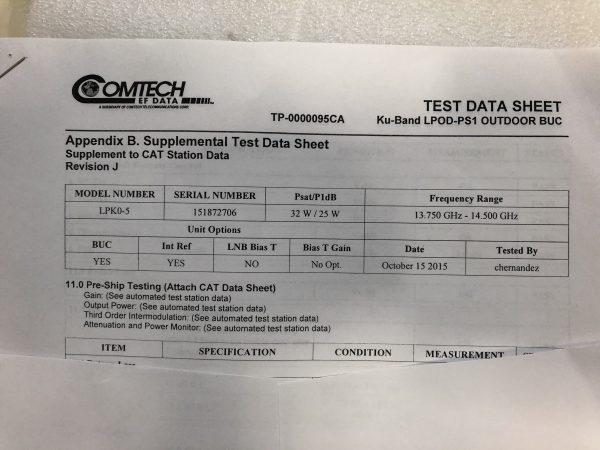32W Ku-Band LPOD-PS1 Outdoor BUC Test Data