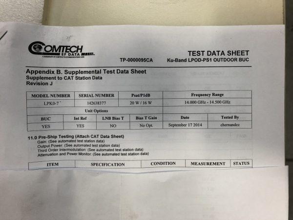 Ku-Band LPOD-PS1 Outdoor BUC Test Data